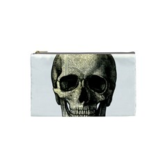Newspaper Skull Cosmetic Bag (small)  by Valentinaart