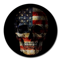 American Flag Skull Round Mousepads by Valentinaart