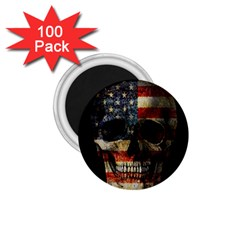 American Flag Skull 1 75  Magnets (100 Pack)  by Valentinaart