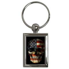 American Flag Skull Key Chains (rectangle)  by Valentinaart