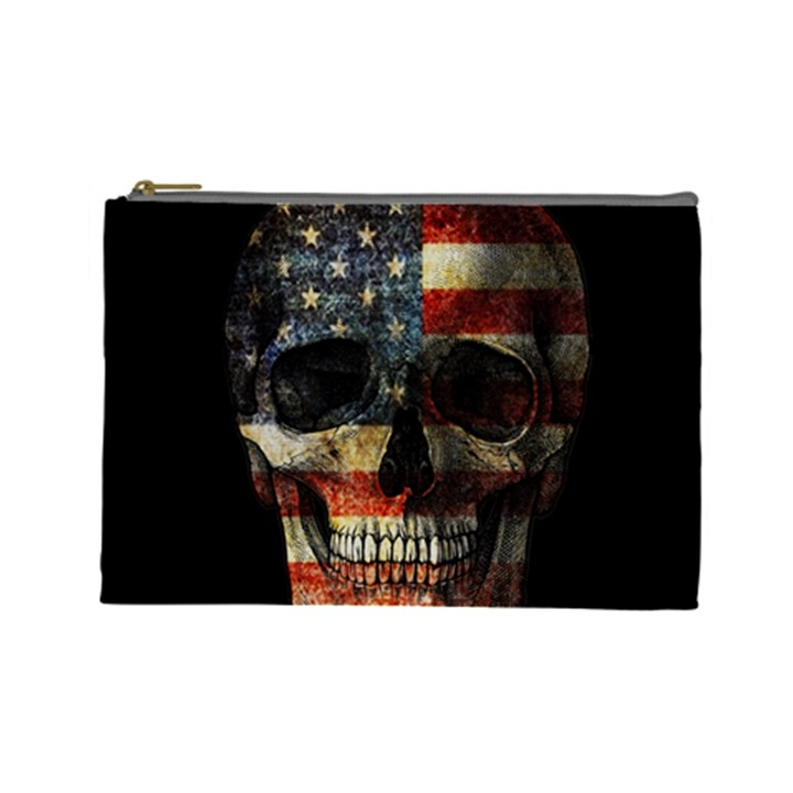 American flag skull Cosmetic Bag (Large)