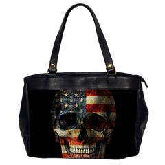 American Flag Skull Office Handbags (2 Sides)  by Valentinaart