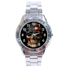 American Flag Skull Stainless Steel Analogue Watch by Valentinaart