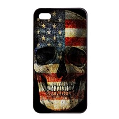American Flag Skull Apple Iphone 4/4s Seamless Case (black) by Valentinaart