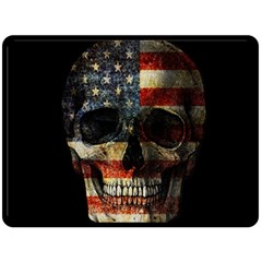 American Flag Skull Double Sided Fleece Blanket (large)  by Valentinaart