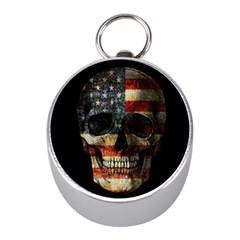 American Flag Skull Mini Silver Compasses by Valentinaart