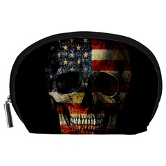 American Flag Skull Accessory Pouches (large)  by Valentinaart