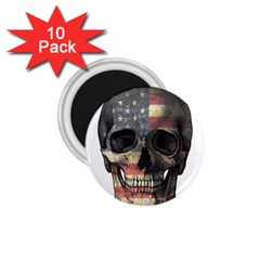 American Flag Skull 1 75  Magnets (10 Pack)  by Valentinaart