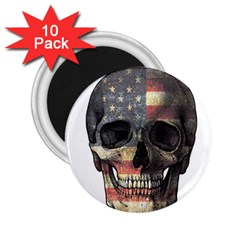 American Flag Skull 2 25  Magnets (10 Pack)  by Valentinaart