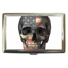 American Flag Skull Cigarette Money Cases by Valentinaart