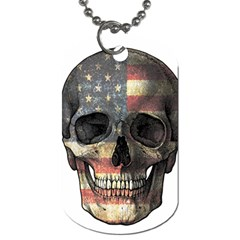 American Flag Skull Dog Tag (two Sides) by Valentinaart