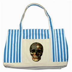American Flag Skull Striped Blue Tote Bag by Valentinaart