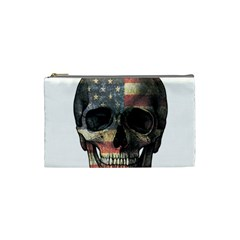 American Flag Skull Cosmetic Bag (small)  by Valentinaart