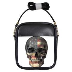 American Flag Skull Girls Sling Bags by Valentinaart