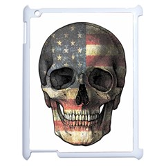 American Flag Skull Apple Ipad 2 Case (white) by Valentinaart