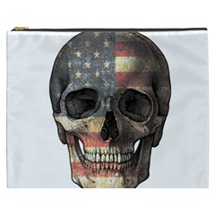 American Flag Skull Cosmetic Bag (xxxl)  by Valentinaart
