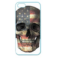 American Flag Skull Apple Seamless Iphone 5 Case (color) by Valentinaart