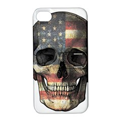 American Flag Skull Apple Iphone 4/4s Hardshell Case With Stand by Valentinaart
