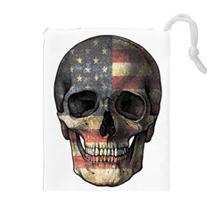 American Flag Skull Drawstring Pouches (extra Large) by Valentinaart
