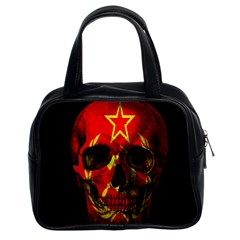 Russian Flag Skull Classic Handbags (2 Sides) by Valentinaart