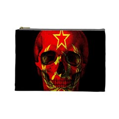 Russian Flag Skull Cosmetic Bag (large)  by Valentinaart