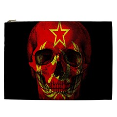 Russian Flag Skull Cosmetic Bag (xxl)  by Valentinaart