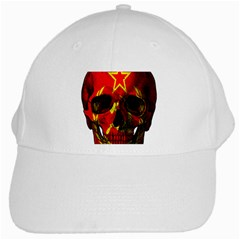 Russian Flag Skull White Cap by Valentinaart