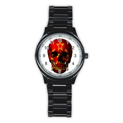 Russian Flag Skull Stainless Steel Round Watch by Valentinaart