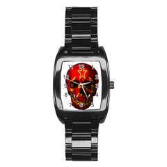 Russian Flag Skull Stainless Steel Barrel Watch by Valentinaart
