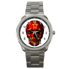 Russian Flag Skull Sport Metal Watch by Valentinaart
