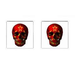 Russian Flag Skull Cufflinks (square) by Valentinaart