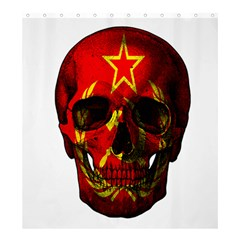 Russian Flag Skull Shower Curtain 66  X 72  (large)  by Valentinaart