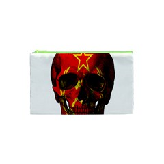 Russian Flag Skull Cosmetic Bag (xs) by Valentinaart