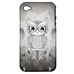 Wonderful Owl, Mandala Design Apple Iphone 4/4s Hardshell Case (pc+silicone) by FantasyWorld7