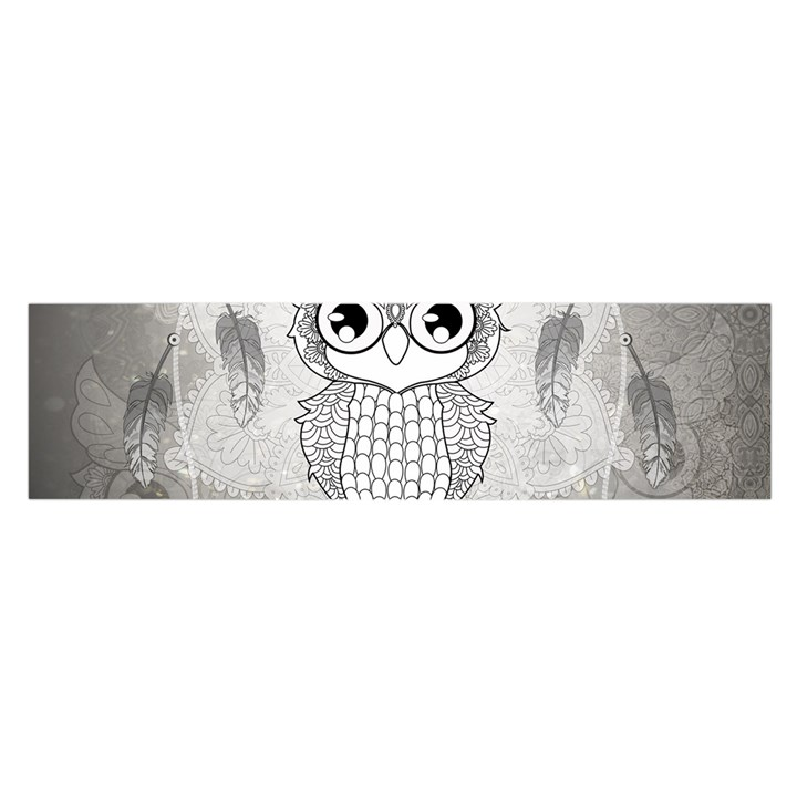 Wonderful Owl, Mandala Design Satin Scarf (Oblong)