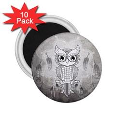 Wonderful Owl, Mandala Design 2 25  Magnets (10 Pack)  by FantasyWorld7