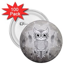 Wonderful Owl, Mandala Design 2 25  Buttons (100 Pack)  by FantasyWorld7