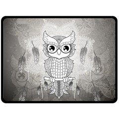 Wonderful Owl, Mandala Design Fleece Blanket (large)  by FantasyWorld7