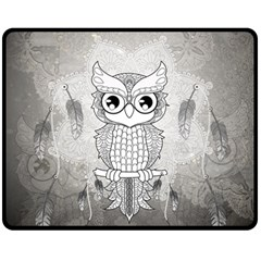 Wonderful Owl, Mandala Design Fleece Blanket (medium)  by FantasyWorld7
