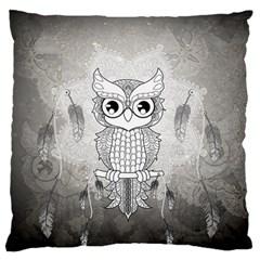 Wonderful Owl, Mandala Design Large Flano Cushion Case (one Side) by FantasyWorld7