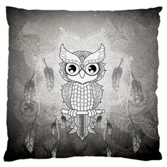 Wonderful Owl, Mandala Design Large Flano Cushion Case (two Sides) by FantasyWorld7