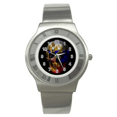 Russian Flag Skull Stainless Steel Watch by Valentinaart