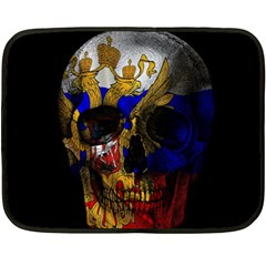 Russian Flag Skull Double Sided Fleece Blanket (mini)  by Valentinaart