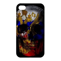 Russian Flag Skull Apple Iphone 4/4s Premium Hardshell Case by Valentinaart