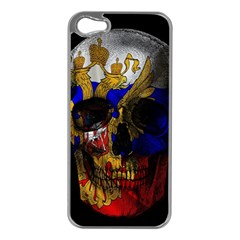 Russian Flag Skull Apple Iphone 5 Case (silver) by Valentinaart