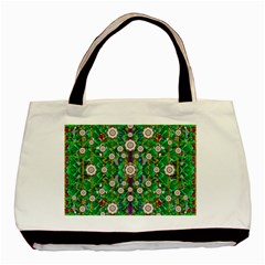 Pearl Flowers In The Glowing Forest Basic Tote Bag by pepitasart