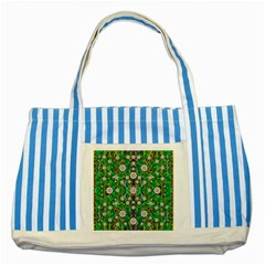 Pearl Flowers In The Glowing Forest Striped Blue Tote Bag by pepitasart
