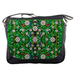 Pearl Flowers In The Glowing Forest Messenger Bags by pepitasart