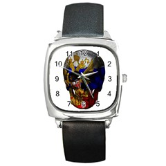 Russian Flag Skull Square Metal Watch by Valentinaart