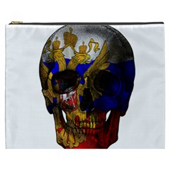 Russian Flag Skull Cosmetic Bag (xxxl)  by Valentinaart